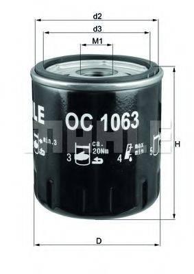 Фильтр масляный ДВС  MAHLE ORIGINAL OC 1063