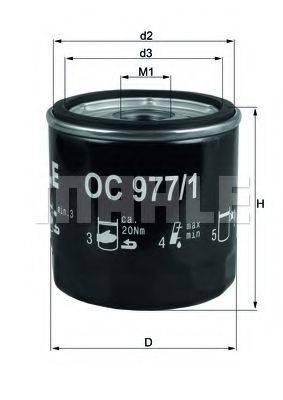 Фильтр масляный ДВС  MAHLE ORIGINAL OC 977/1