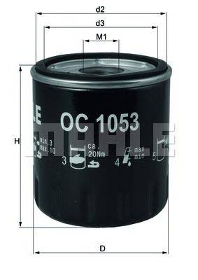 Фильтр масляный ДВС  MAHLE ORIGINAL OC 1053