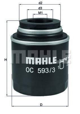 Фильтр масляный ДВС  MAHLE ORIGINAL OC 593/3