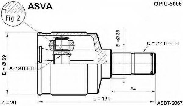 ШРУС с пыльником ASVA OPIU-5005