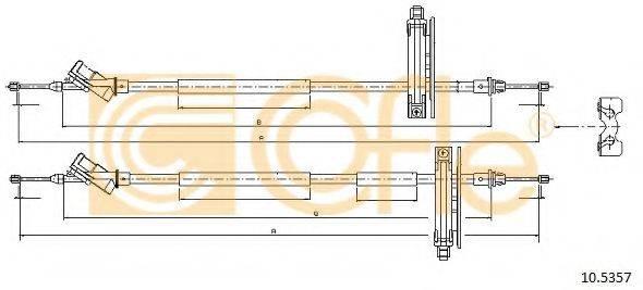 Трос, стояночная тормозная система COFLE 10.5357